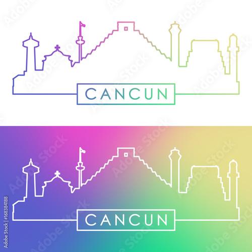 Cancun Skyline Colorful Linear Style Editable Vector File Stock
