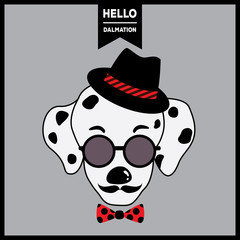 Portrait of dalmatian dog having mustache put on hipster hat and sunglasses with bow tie design for poster.