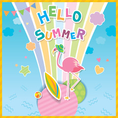 Illustration vector of Hello Summer design with flamingo and rainbow on blue sky background.