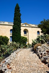 Gardens leading to the side of the maritime museum, Vittoriosa, Malta.