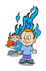 Funny Cartoon Boy and Girl with Fire