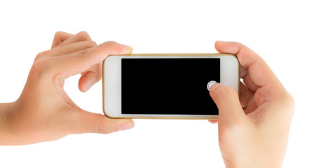 Hand holding smart phone take a photo.