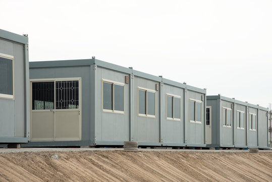 mobile building in industrial site or office container in construction site