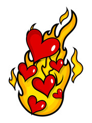 Hearts Isolated on Fire Flame Vector