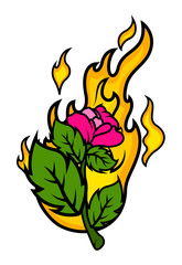 Rose with Fire Vector