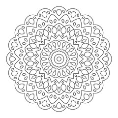 Mandala. Wonderful Round Element For Coloring Book. Black Lines on White Background.