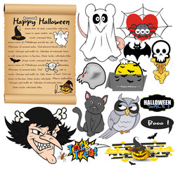Set of Cartoon Halloween Vector Elements