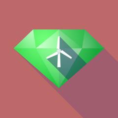 Long shadow diamond with a wind turbine