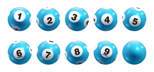 Vector Bingo / Lottery Aqua Blue Number Balls 1 to 9 Set Isolated on White Background