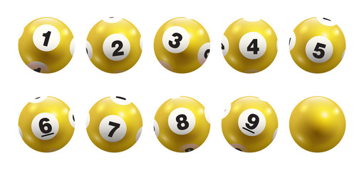 Vector Bingo / Lottery Yellow Number Balls 1 to 9 Set Isolated on White Background