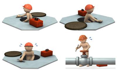 上下水道のエンジニアを表すアブストラクト3DCGイラスト