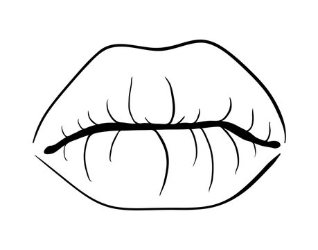 lips closed outline  cartoon  vector symbol icon design. Beautiful illustration isolated on white background