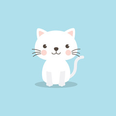 Cat character. A cute white kitten on sky blue background. Funny cat vector illustration for baby shower invitation, birthday party invitation postcard, greeting card, invitation and eCards.