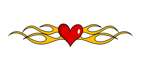 Heart with Flame Vector Graphic tattoo separator