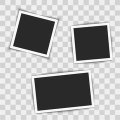 Instant photo frames  on transparent background. Vector illustration.