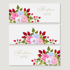 set Greeting card with bouquet flowers for wedding, birthday and other holidays. Floral  frame for text.