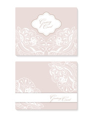 set invitation card with lace decoration for wedding; birthday; Valentine's day and other holidays. Template vector frame.