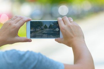 Taking photo with smartphone