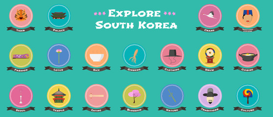Set of icons with Korean landmarks, objects, architecture in vector