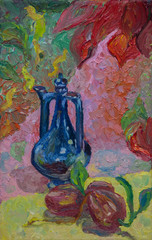 Still life written in oil. Blue jug and red peppers