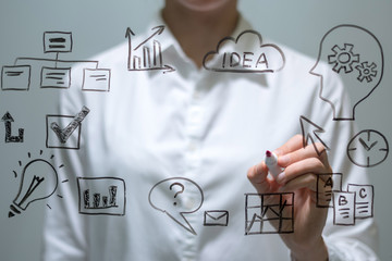 Businesswoman writing with marker on virtual screen with copy space for text.