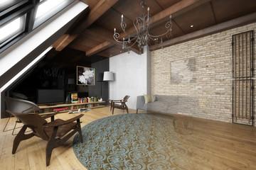Wohnzimmer in der Mansarde (Vision)