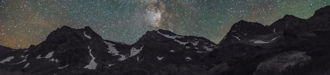 Altai mountain range in front of summer night sky with stars and milky way, abstract background