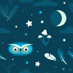 Night forest owl seamless