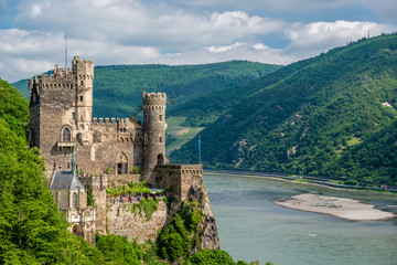 Fotobehang Kasteel Rheinstein Castle at Rhine Valley (Rhine Gorge) in Germany