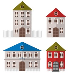 Various Multi-Colored Buildings. Vector illustration