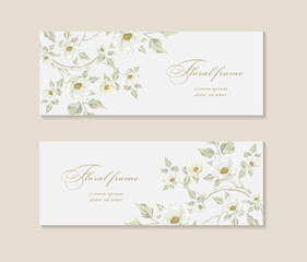 set Greeting card with branch of Sakura for wedding, birthday and other holidays.