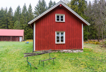Red old cottage in the forest