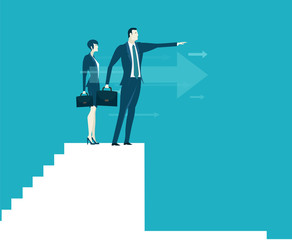 Businesswoman and businessmen on top of the stairs, looking for the business growing charts and diagrams and representing professional success. Business concept illustration.