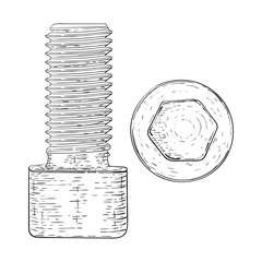 Metal bolt with hex socket. Hand drawn sketch