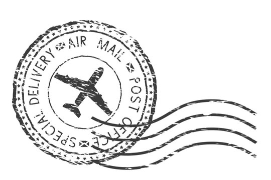 Post service, special delivery air mail black postmark with plane sign.