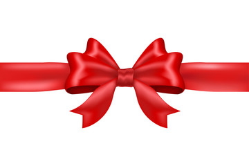 Red tied ribbon bow