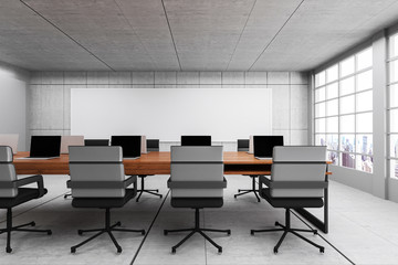 3D Rendering : illustration of Conference room interior. wooden table in cement concrete wall and floor. city view. copy space on screen. e commerce office business concept. internet cafe