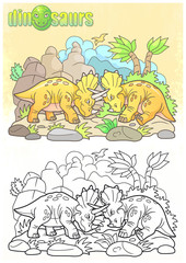 cartoon funny dinosaurs fight each other