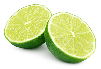 Two halves of green lime citrus fruit isolated on white background. Lime halves with clipping path
