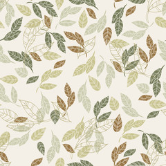 Seamless pattern of leaves. Background for textile or book covers, manufacturing, wallpapers, print, gift wrap and scrapbook. Raster copy
