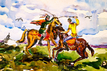 Two warriors fighting by swords on horseback. Watercolor painting