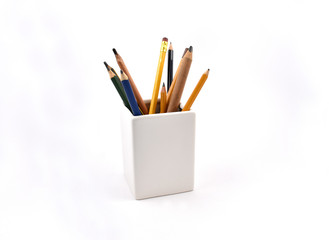 Pencils stock images. Pencil on a white background. Pencils in a box
