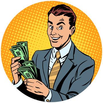 businessman counts money pop art avatar character icon