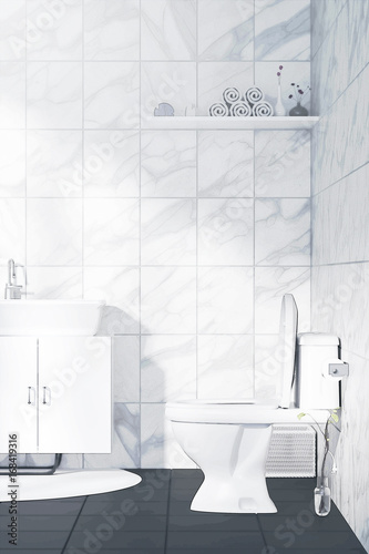 Tremendous 3D Rendering Illustration Of White Toilet And Bathroom Download Free Architecture Designs Lukepmadebymaigaardcom