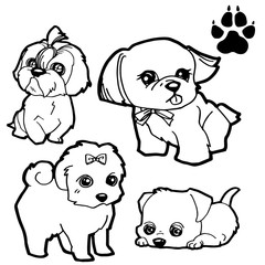 dog cartoon  and dog paw print  coloring book on white background vector