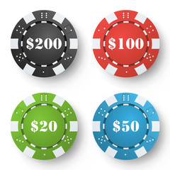 Classic Poker Chips Vector. Colored Poker Game Chips Isolated On White Background. Illustration.
