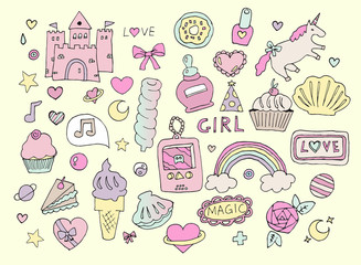 Fashion girl stickers set