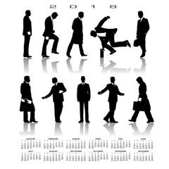 A 2018 calendar with 10 businessmen silhouettes for print or web
