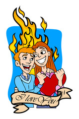 Young Cartoon Couple - Valentine Graphic