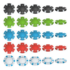 Poker Chips Vector. 3D Realistic Set. Colored Poker Game Chips Sign Isolated On White Background. Flip Different Angles. White, Red, Black, Blue, Green Casino Chips Illustration.